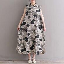 2018 summer fashion women sleeveless linen dress gray long vintage polka dot dress