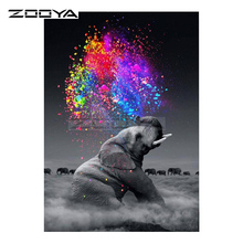 hot deal buy zooya diamond embroidery 5d diy diamond painting elephant &colorful colors diamond painting cross stitch rhinestone mosaic bk246