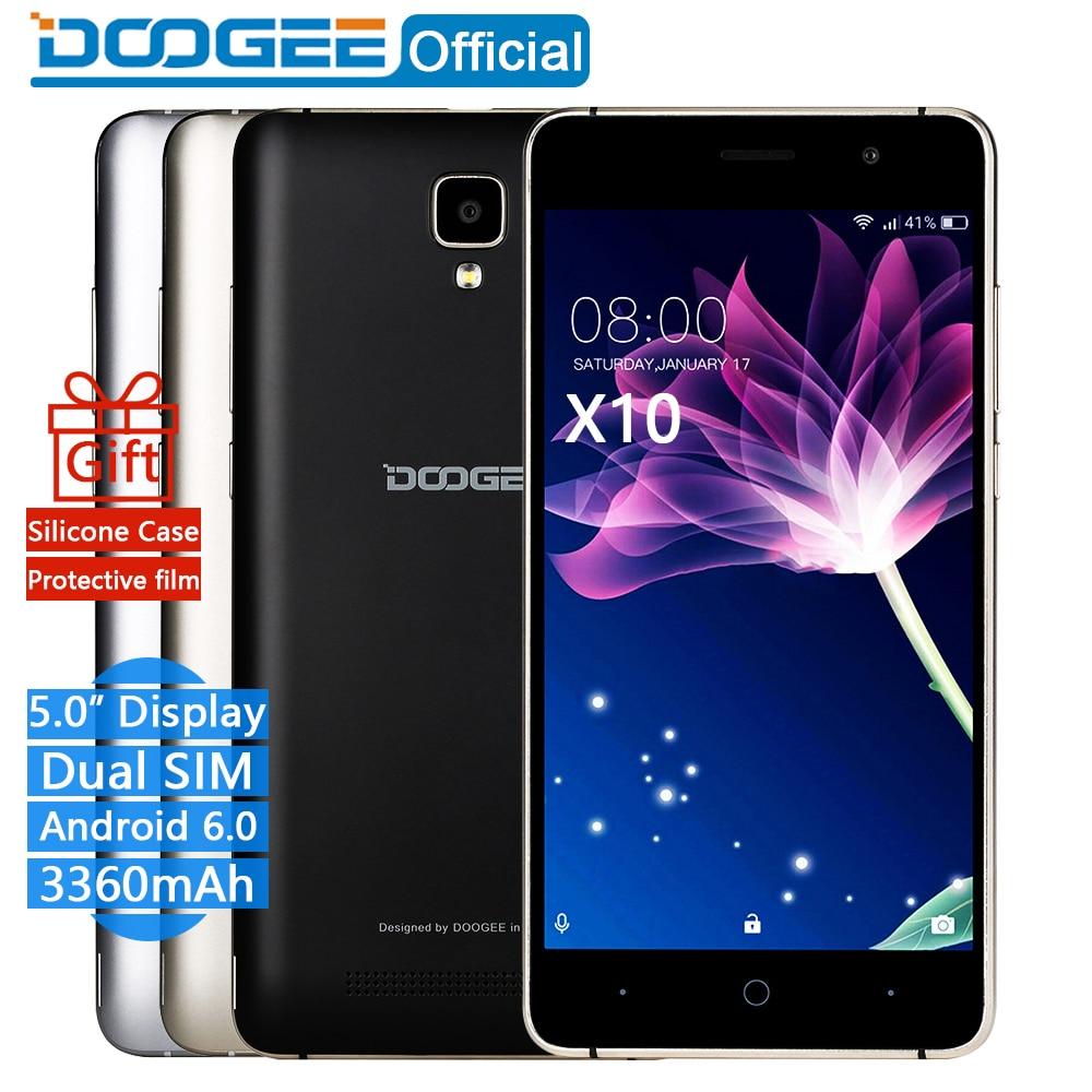 In Stock Now DOOGEE X10 mobile phones 5 0Inch IPS 8GB Android6 0 smart phone Dual