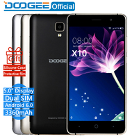 In Stock Now DOOGEE X10 mobile phones 5.0Inch IPS 8GB Android6.0 smart phone Dual SIM MTK6570 5.0MP 3360mAH WCDMA GSM cellphone