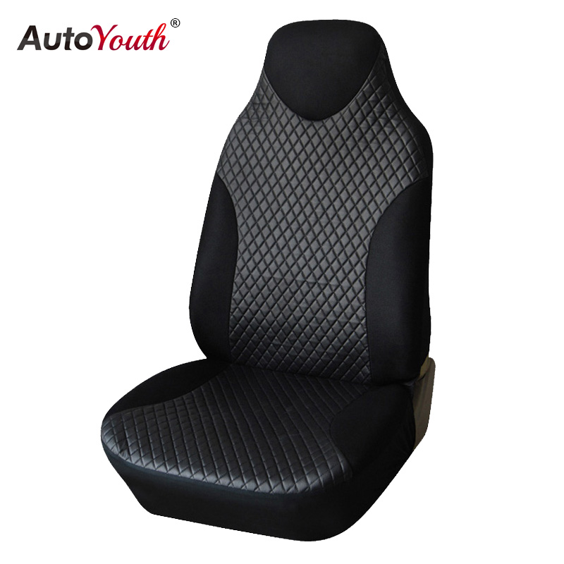 PU Leather Car Seat Covers 1pcs Universal Non- Detachable Headrests Car Styling Car Seat Protector For Peugeot 307 Golf 4 Black