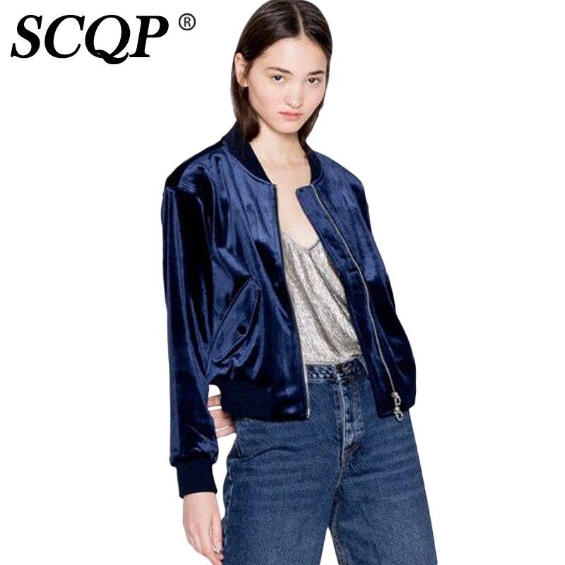 SCQP Solid Pockets Zipper Velvet Ethnic Jackets Ladies Fashion Navy Women  Bomber Jacket 2016 Casual Autumn - Popular Navy Bomber Jackets-Buy Cheap Navy Bomber Jackets Lots