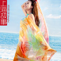 FACTORY Summer Seaside color Womens Geometric Beach Cover Up Dresses Chic Graphic Miami Beach Kaftan Poncho Robe De Plage