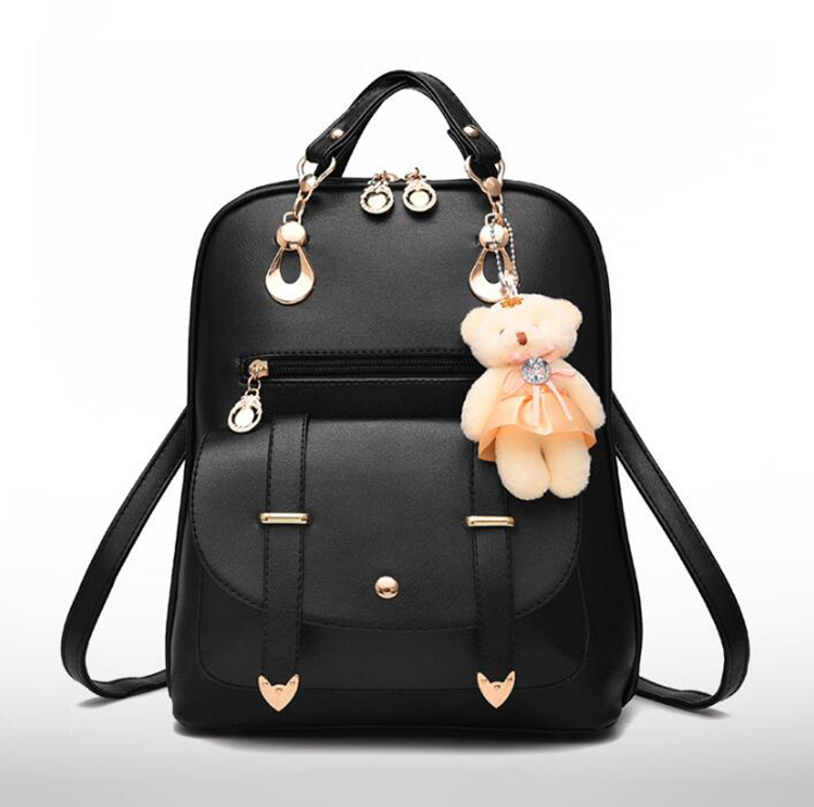 HTB1GRckDnlYBeNjSszcq6zwhFXa0 Preppy Style Women Backpack Bear Toys PU Leather Schoolbags for Teenage Girls Female Rucksack Shoulder Bag Travel Knapsack