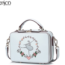 2017 Summer Luxury Flower Ballet Girl Embroidery Tote Handbags For Women PU Leather Shoulder Bag Double Zipper Messenger Bags