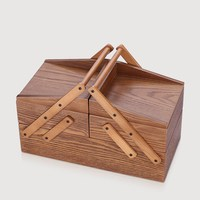 Wooden vintage hand carved storage box desktop jewelry storage finishing portable wooden box / jewelry sewing storage box drawer