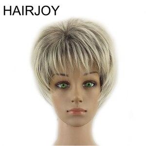HAIRJOY женские парики из синтетических волос, Короткие вьющиеся, многослойная, серая, подсвеченная, серый парик