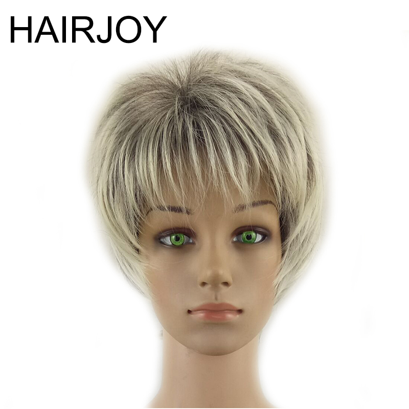 Aggressivo Hairjoy Senza Cappuccio Delle Donne Parrucche Sintetiche Dei Capelli Corti Ricci Layered Haircut Grigio Evidenziato Balayage Grigio Parrucca