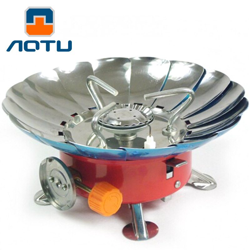 AOTU Foldable Windproof Lotus Pattern Gas Stove Portable Aluminum Alloy Stove Burners Cookware for Outdoor Camping Hiking Picnic цена
