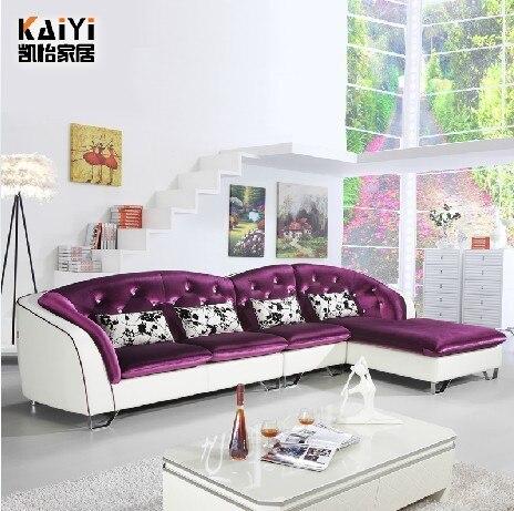 European leather sofa living room sofa with cloth corner ...
