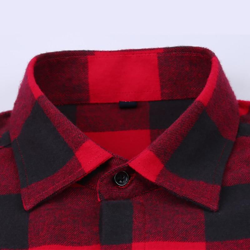 Menns 100% Cotton Casual Plaid Skjorter Pocket Langermet Slim Fit - Herreklær - Bilde 3
