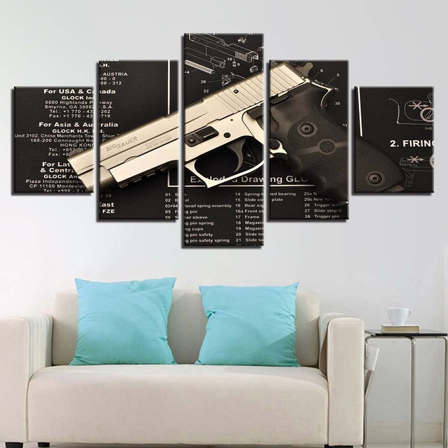 Abstrak Modern 5 Panel Dinding Gambar Seni Dekorasi Rumah Kanvas Gun Ruang Tamu Modular Hd Dicetak