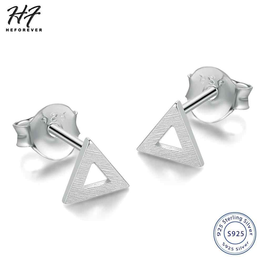 Новый Настоящее серебро 925 проба, ручная работа, Wiredrawing Треугольники серьги-гвоздики в форме серьги, ювелирное изделие в подарок для женщин или девочек Лидер продаж EY220