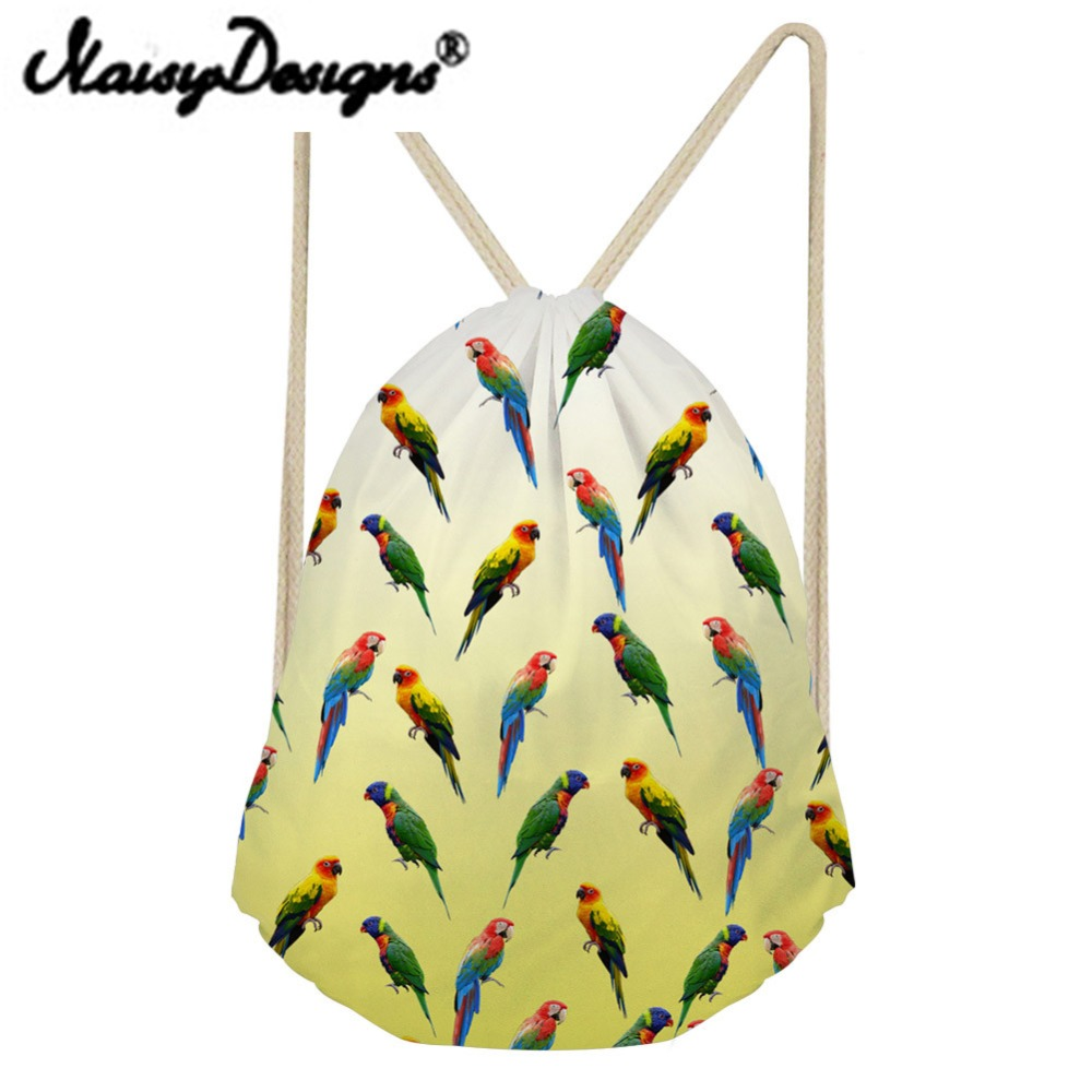 NOISYDESIGNS yellow 3D parrot Printed Drawstring Backpack for women Colorful fashion day pack pouch school bag