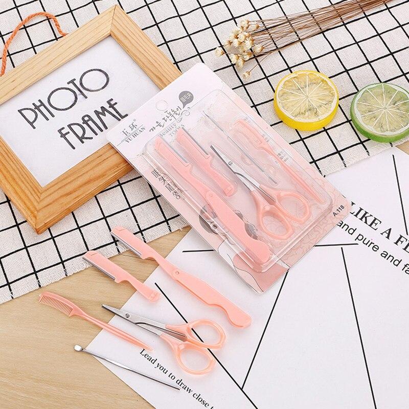 5Pcs/Set Professional Makeup Eyebrow Tools Female Eyebrow Eyelash Trimmer Ear Spoon Scissors Kits Face Makeup Accessories