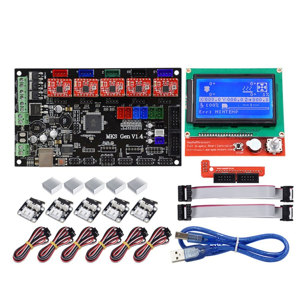 Professional 3D Printer Kit MKS GEN 1.4 Control Board + LCD 12864 + 6x Limit Switch + 5x 4988 Stepper Driver High professional 3d printer kit mks gen 1 4 control board lcd 12864 6x limit switch 5x 4988 stepper driver high