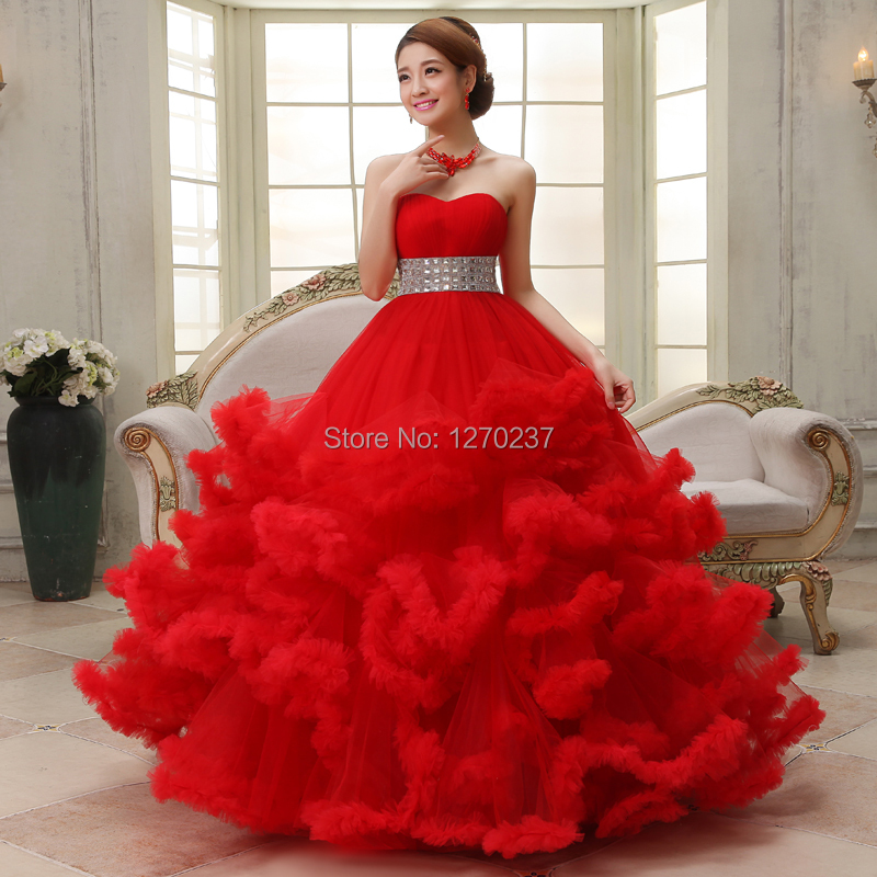 Red Wedding Gowns 2014: 2014 Princess Bride Tube Top Luxury Red Fluffy Wedding