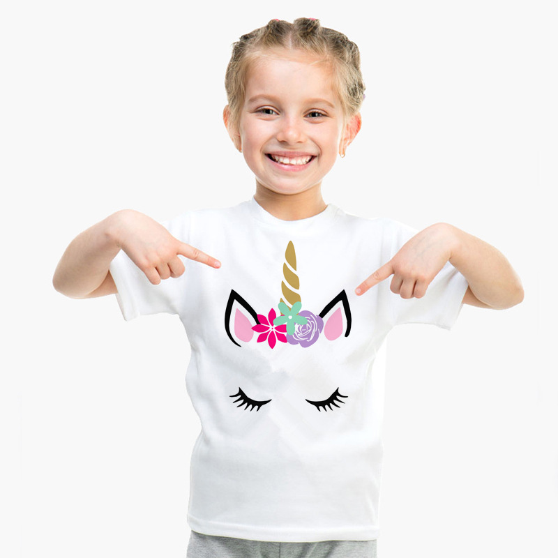 Girl T-Shirts Tops Tees Short-Sleeve Unicorn White Boy Children's And Summer Casual Printing