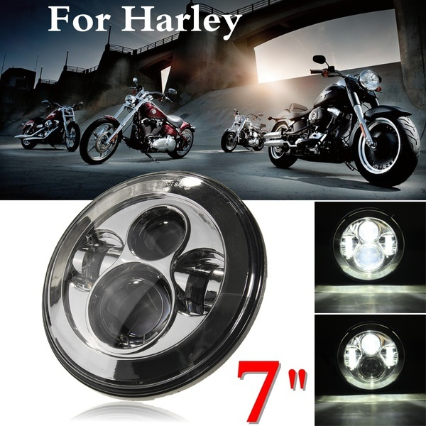 HENYNET 7 Inch Chrome Round Motorcycle Projector Daymaker Hi/lo Led Light Bulb Headlight for Harley Davidson /Jeep Wrangler 7 inch headlight h4 motorcycle round led headlamp daymaker hi low beam head light bulb drl for harley jeep wrangler