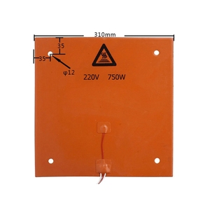Image 3 - 750w 220v 31*31 cm 3D מדפסת חלקים ואבזרים סיליקון מחומם מיטה כתום צבע חימום Pad עבור CR 10 3D מדפסת מיטת חורים