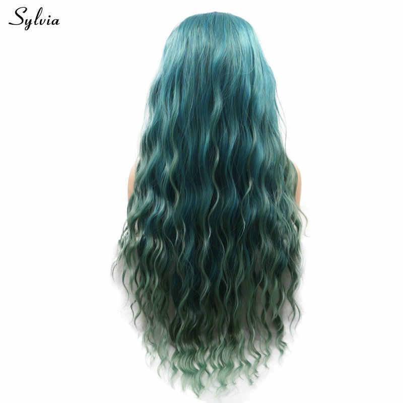 Sylvia Wasser Welle Synthetische Haar Dunkle Wurzeln Ombre Grau Braun Grün/Schmutzig Blau Grün Teal Spitze Vorne Perücke für frauen Drag Queen