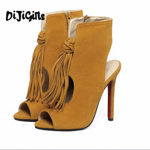 high heels sandal 2017 sexy tassel women gladiator sandals fashion strappy open toe summer style party shoes