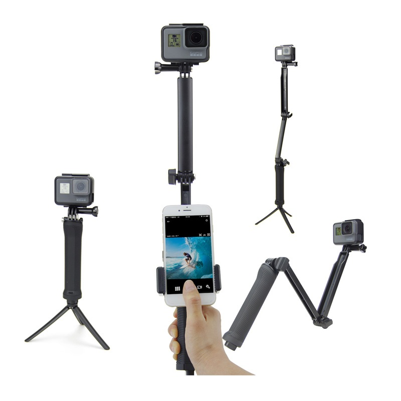 GoPro Monopod Collapsible 3 Way Monopod Selfie Stick Grip Extension Arm Tripod Stand+ Phone Clip for Gopro 5 4 3  SJCAM Xiao yi