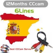 Стабильный и быстрый Европа HD кабель 1 год CCCam для спутникового ТВ приемник 3/6 Cline FULL HD DVB-S2 поддержка Испания ресивер спутниковый с сам-шиной