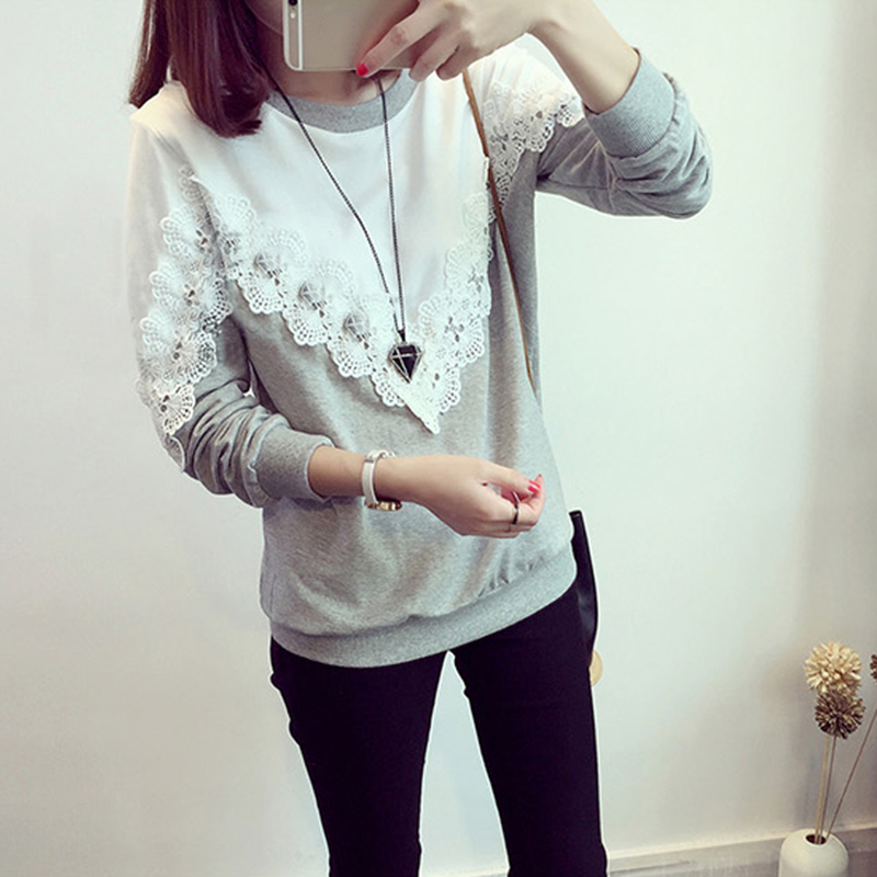 New Fashion Casual Korean Style Women Long Sleeve Round Neck Tops Blouse