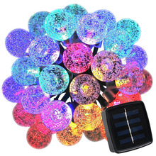 Solar Outdoor Christmas Fairy String Lights 20ft 30LED 8 Modes Crystal Ball Waterproof Light for New Year Party Garden Decorate