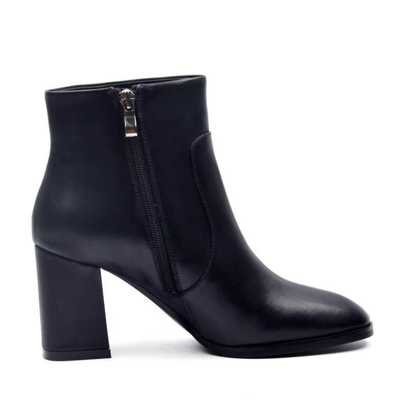 Donna-in 2017 yeni koleksiyonlar hakiki dana deri kadın çizmeler kare ayak zarif bayanlar boots kalın yüksek topuk ayak bileği çizmeler