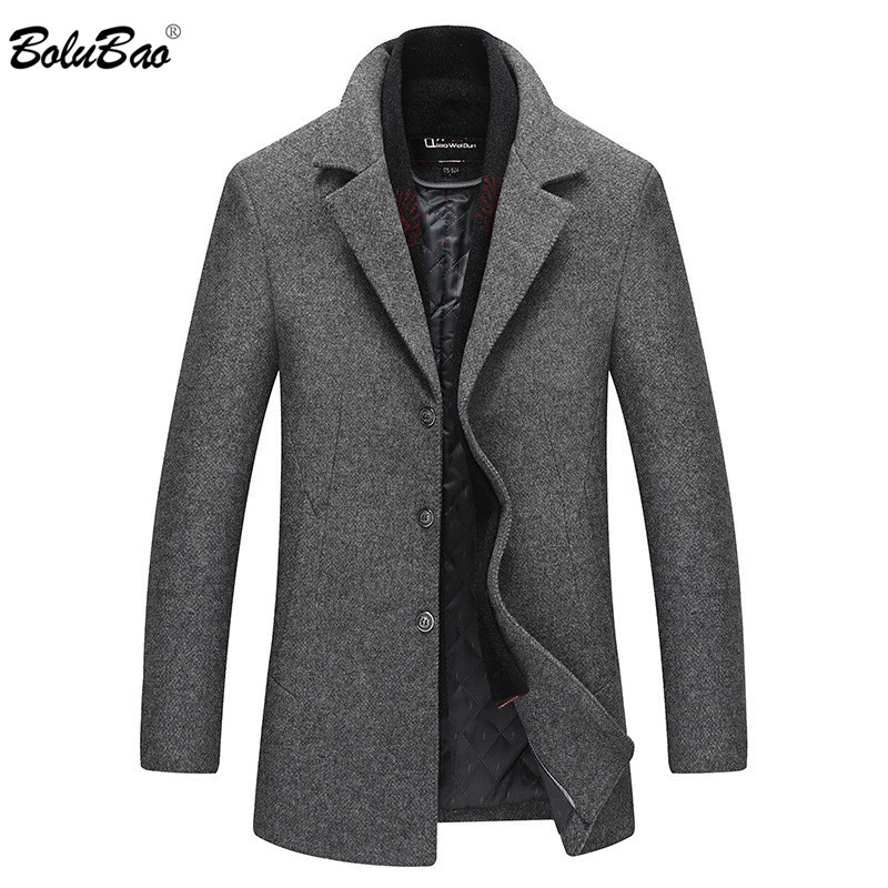 BOLUBAO Brand Men Winter Wool Coat Men Scarf Lapel Solid Color Thick Pea Coat Male Trench Coat Casual Wool Blend Overcoat