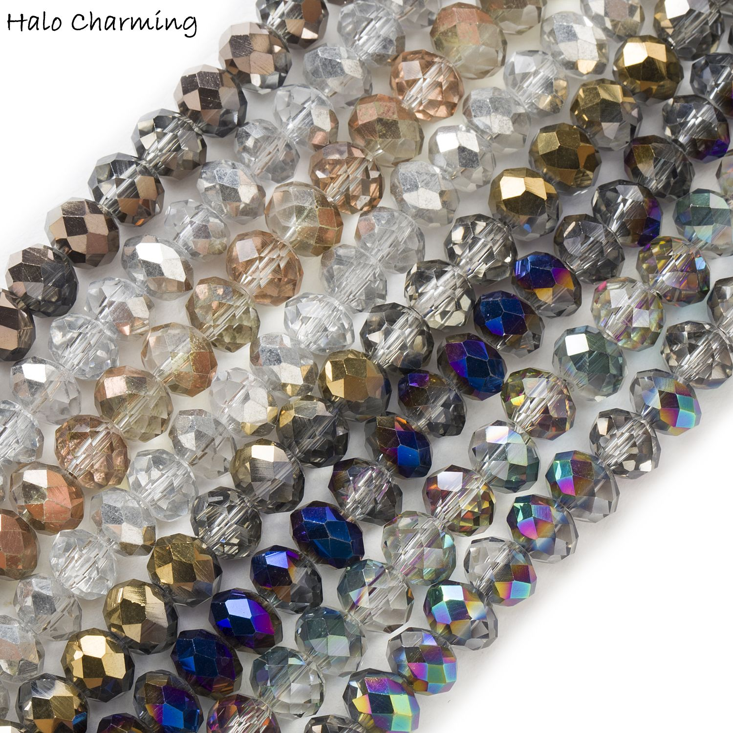 New 6*8mm 70PC Faceted Black Rondelle glass Crystal Beads