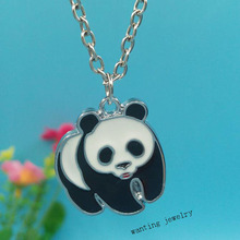 Enamel Panda Necklace For Women Gift Charms Pendants Necklace Collar  Choker  Vintage Silver Fashion Jewelry