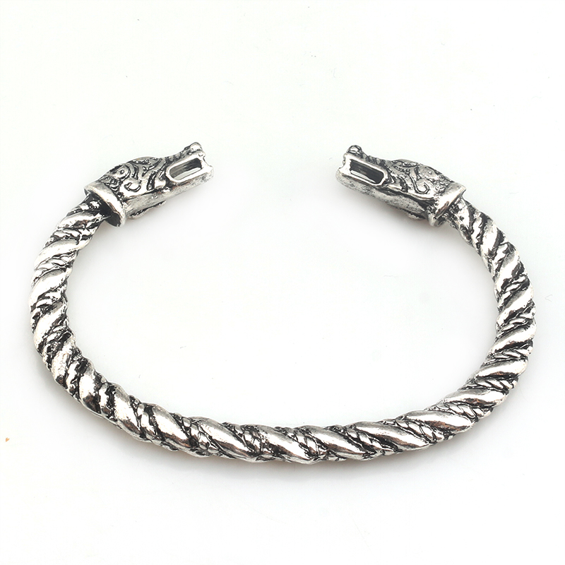 S/C Double Wolf Bracelet Two-pointed Wolf Bangles Vikings Logo Fashion jewelry Accessories bracelet for men ...