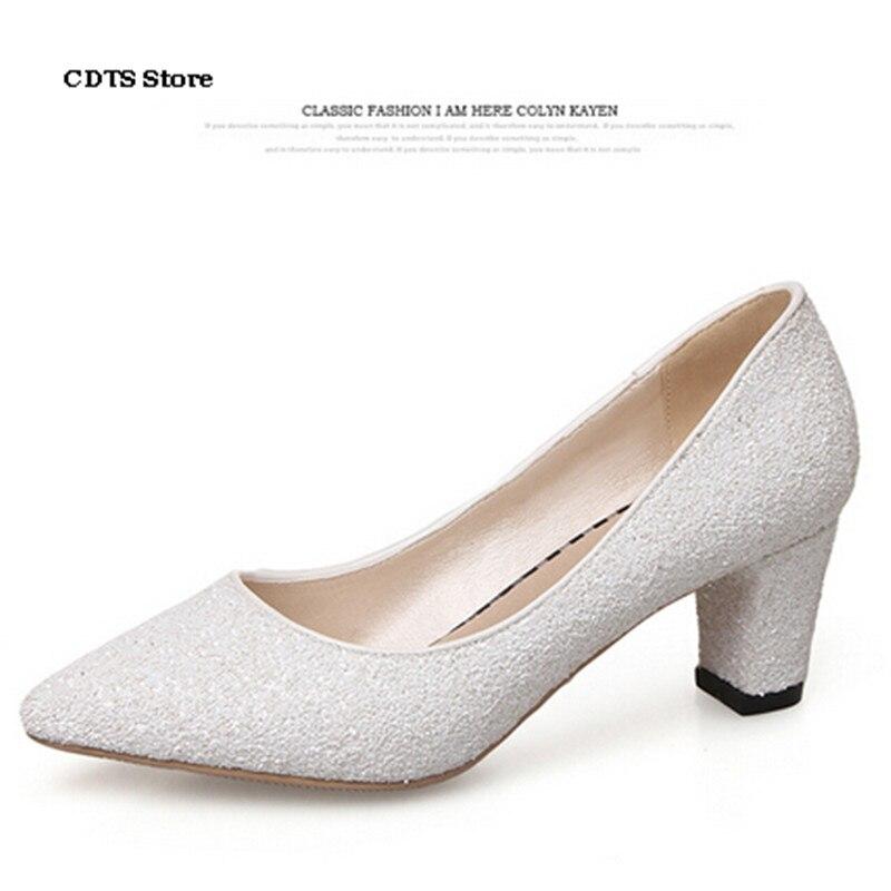 CAD Mode paillette de mode Med talons épais chaussures femmes bout pointu à  talons hauts de printemps confortable unique de mariage pompes daa766c97db0
