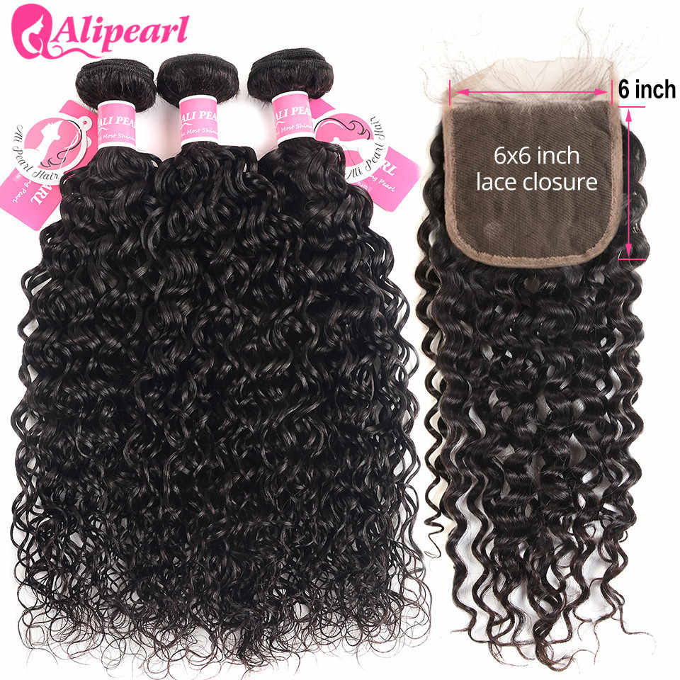 Water Wave Human Hair Bundles With 6x6 Closure Free Part Pre Plucked Brazilian Bundles With Closure Remy AliPearl Hair Extension