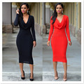 New arrivals fashion 2016 women double layer dress full sleeve sexy club sheath bodycon solid womens elegant party dresses MQ107