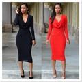 Os recém-chegados moda 2016 das mulheres de dupla camada vestido de luva cheia de mulheres elegantes vestidos de festa sexy clube bainha bodycon sólida MQ107