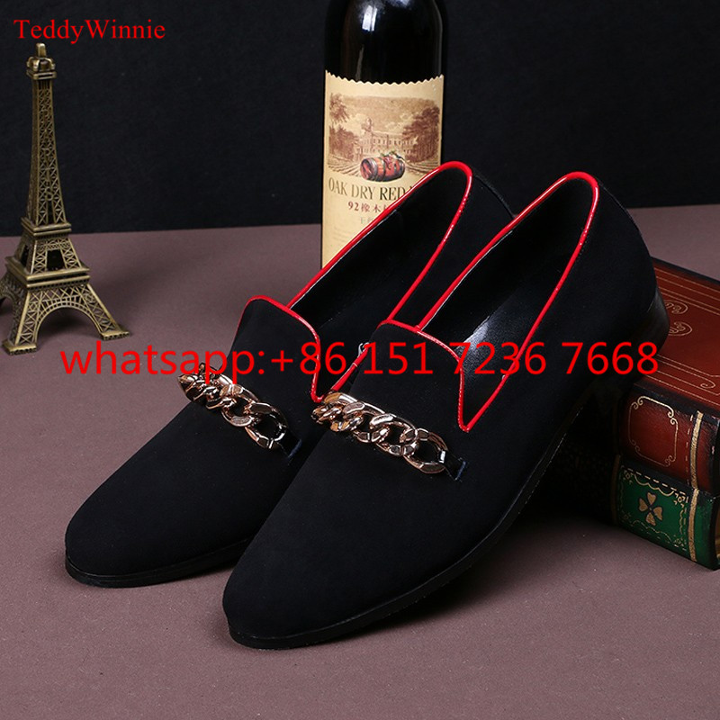 Factoty Drop Luxury New Fashion Men Shoes Slip On Moccasins Round Toe Loafers Gold Chains Mens Leather Casual Flats Shoes Man hot high quality men loafers leather round toe slip on casual shoes man flats driving shoes hombre zapatos comfortable moccasins