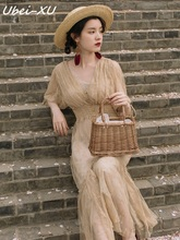 Ubei Victorian French style court vintage dress very fairy women high slim waist holiday long lace summer
