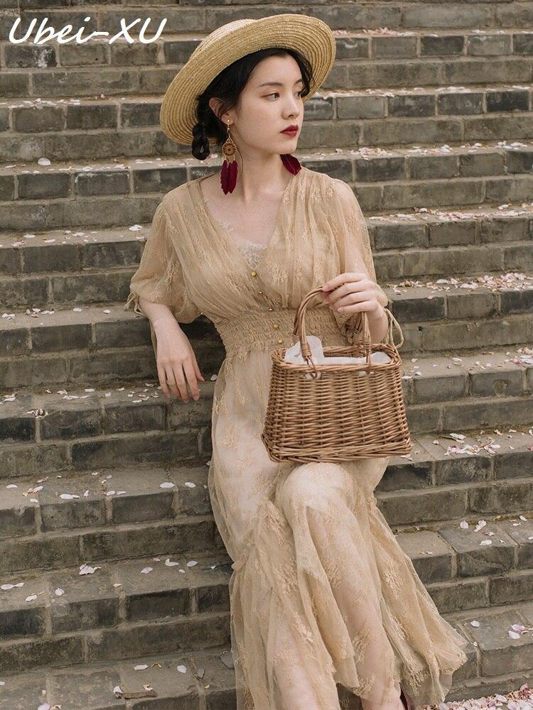 Ubei victorien style français court vintage robe très fée robe femmes haute slim taille vacances longue dentelle robe d'été