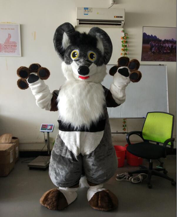 Ohlees réel photo photo Fursuit gris chien renard dessin animé personnage mascotte Costumes Halloween noël anniversaire