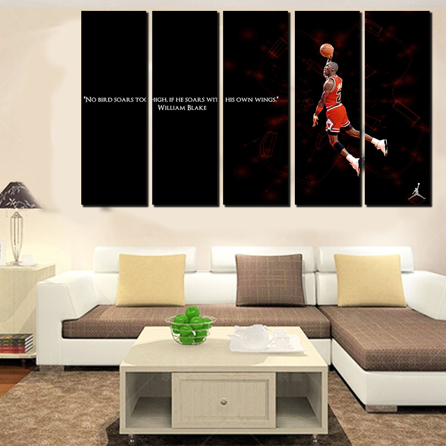 5 pcs for michael jordan large seaview canvas print painting for living room wall art picture gift decoration home no framed in painting calligraphy from - Michael Jordan Wings Poster Framed