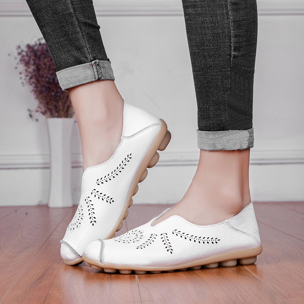 Leisure Women Round Toe Hollow Slip-On Shoes Flat Single Shoes Peas Boat Shoes Shoes Woman Zapatos De Mujer Sapato Feminino 4
