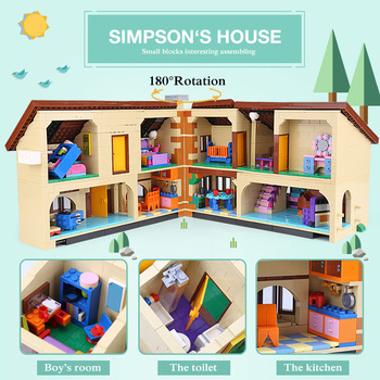 DHL Movie Toys 16005 Simpsons House 2575Pcs Building Block Brick Compatible With Lepining 71006 Toys for Children Birthday Gift 1
