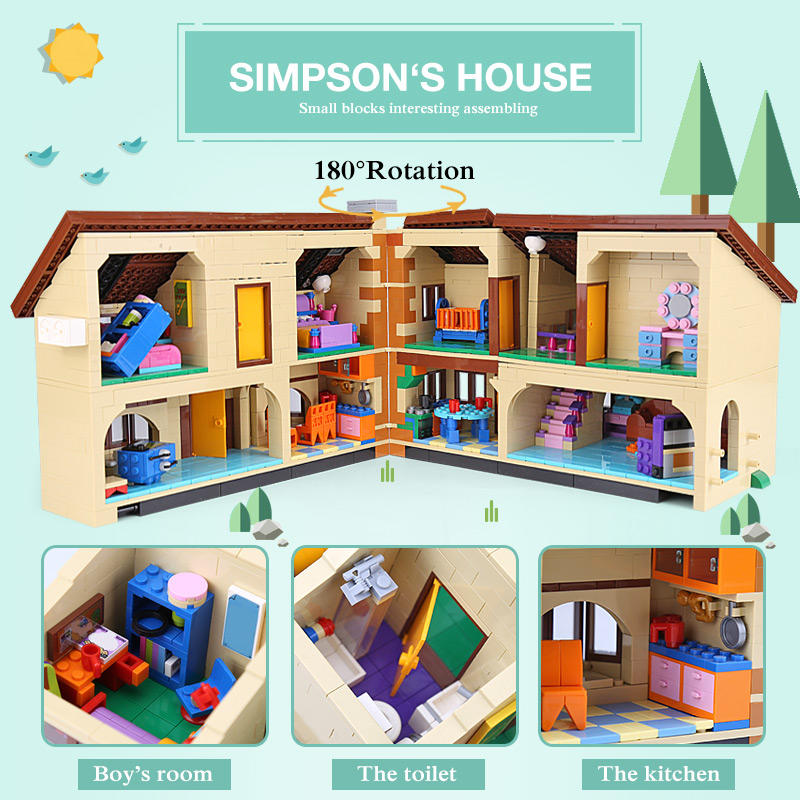 Image 2 - Free shipping DHL 16005 Simpsons House 2575Pcs Model Building Block Bricks Compatible with 71006 Toys Gift for children brithday-in Blocks from Toys & Hobbies