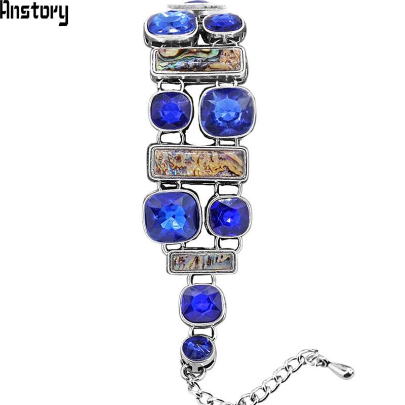 Oblong Shell Bracelet For Women Double Layer Blue Crystal Bracelet Antique Silver Plated Wedding Party Bracelet opk ds967 bracelet blue