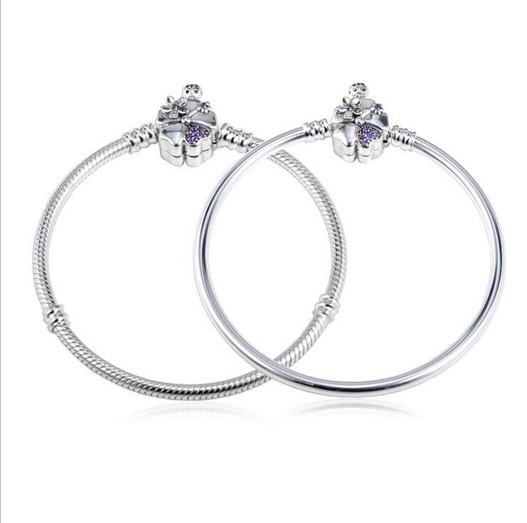 Authentique 925 en argent Sterling nouveau Bracelet bricolage Base chaîne humeur violet fleur boucle Bracelet Bracelet