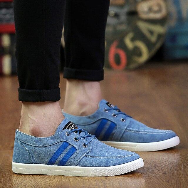 b052df17051 Casual Shoes Men Canvas Shoes Lace Up Canvas Espadrilles Men Shoes Casual  Flats Blue Chaussure Homme